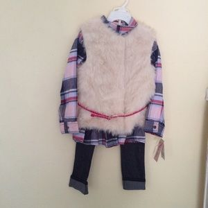 Little Lass Girl Pink 3 pc Set Fur Vest & Jean - 5